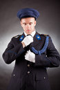 Elegant soldier wearing uniform in studio Stock Image