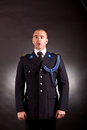 Elegant soldier wearing uniform in studio Stock Images