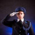 Elegant soldier wearing uniform in studio Royalty Free Stock Photos