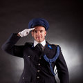 Elegant soldier wearing uniform in studio Royalty Free Stock Photography