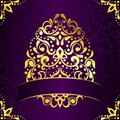 Elegant square easter frame in purple and gold Stock Images