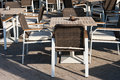 Elegant table restaurant tables with chairs placed outdoors Royalty Free Stock Photo