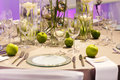Elegant table set in green and white for wedding or event party creme brown with apples limes Stock Images