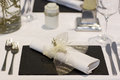 Elegant table set in soft creme for wedding or event party beautiful Stock Photos