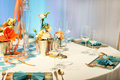 Elegant table set in soft creme for wedding or event party beautiful modern Stock Photography