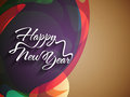 Elegant text design of happy new year on colorful beautiful background vector illustration Royalty Free Stock Photo