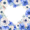 Elegant Valentines day heart  frame of watercolor flowers Royalty Free Stock Photo