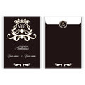 Elegant vertical VIP envelope. It is executed in the Victorian style with a leaf ornament. Suitable for the design of invitations. Royalty Free Stock Photo