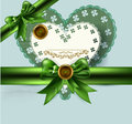 Elegant vintage card with bow, ribbon Royalty Free Stock Images