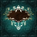 Elegant vintage rococo label in dark green Royalty Free Stock Photos