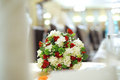 Elegant wedding bouquet table restaurant Stock Image