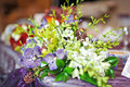 Elegant wedding bouquet on table at restaurant Royalty Free Stock Photo