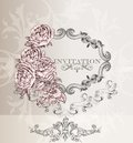Elegant wedding invitation card for design classic retro vector Stock Image