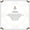 Elegant white emblem, for VIP invitations. With a circular white Victorian ornament. For design and web.
