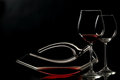 Elegant wineglass and decanter