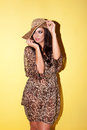 Elegant woman in animal print outfit Stock Photo
