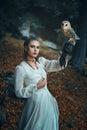 Elegant Woman With Barn Owl