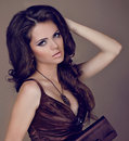 Elegant Woman with beauty long brown hair Stock Photo
