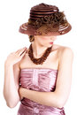 Elegant woman with big hat Royalty Free Stock Photos