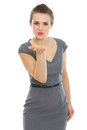 Elegant woman in dress blowing air kiss Stock Photography