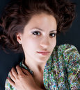 Elegant woman in green summer dress Royalty Free Stock Photo