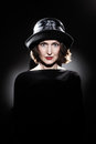 Elegant woman in hat fashion portrait beautiful mature senior style years old Royalty Free Stock Photo