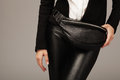 Elegant Woman With A Leather F...