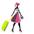 Elegant woman with luggage, Vector illustration Stock Photo