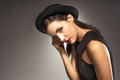 Elegant woman weating hat and dress Royalty Free Stock Photos