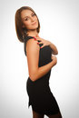 Elegant woman young female model girl in black dress emotion this image has attached release Royalty Free Stock Photos