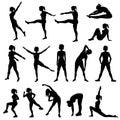 Elegant women silhouettes doing fitness exercises. Fitness club Royalty Free Stock Photo