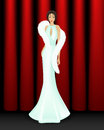 Elegant women stage red curtain back wearing white dress white fur Royalty Free Stock Photos