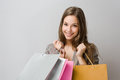 Elegant young brunette shopper. Stock Images