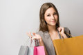 Elegant young brunette shopper. Stock Photos