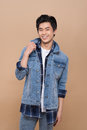 Elegant young handsome asian man. Cool fashion male model. Royalty Free Stock Photo