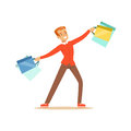 Elegant young handsome man in a red pullover with gift box and shopping bags colorful character vector Illustration Royalty Free Stock Photo