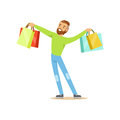 Elegant young handsome man standing with shopping bags colorful character vector Illustration
