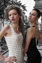 Elegant young ladys dressed outside Royalty Free Stock Photography