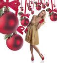 Elegant young woman celebrating christmas Stock Image