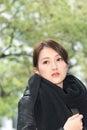 Elegante aziatische vrouw van droefheid Stock Afbeeldingen