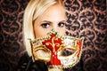 stock image of  Elegantly dressed light hair model wearing a mask
