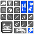 Elektrician squared icons collection of Royalty Free Stock Photo