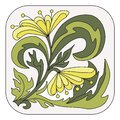 The element with the floral image. Bright pattern, yellow flowers on a light background. Hand-drawn. Vector.