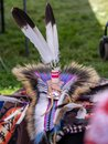Element of a traditional Native America Costume - feather decorated headdress Royalty Free Stock Photo