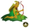 Elemental of earth series – spirit cartoon style vector illustration Royalty Free Stock Image