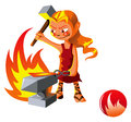 Elemental of fire series – spirit cartoon style vector illustration Royalty Free Stock Images