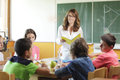 Elementary classroom setting. Focus on teacher and chalkboard. Royalty Free Stock Image