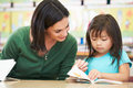 Elementary pupil reading with teacher in classroom sitting at table Stock Photography