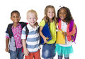 Elementary school kids group a of diverse age isolated on a white background Royalty Free Stock Image