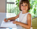 Elementary school pupil writing Royalty Free Stock Photos